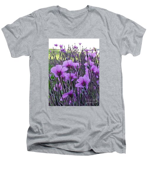 Men's V-Neck T-Shirt featuring the photograph Purple Field by Jasna Gopic