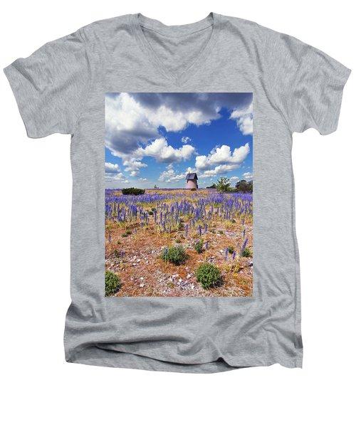 Purple Flower Countryside Men's V-Neck T-Shirt