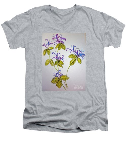 Purple Flowers Men's V-Neck T-Shirt