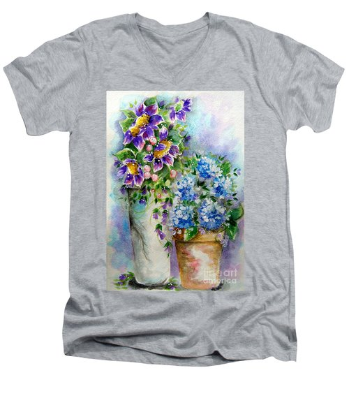 Men's V-Neck T-Shirt featuring the painting Purple Flowers by Patrice Torrillo