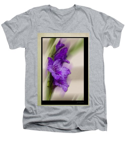Men's V-Neck T-Shirt featuring the photograph Purple Gladiolus by Patti Deters