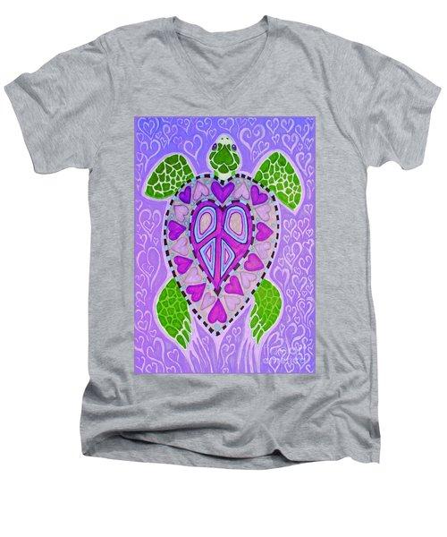 Purple Heart Turtle Men's V-Neck T-Shirt by Nick Gustafson