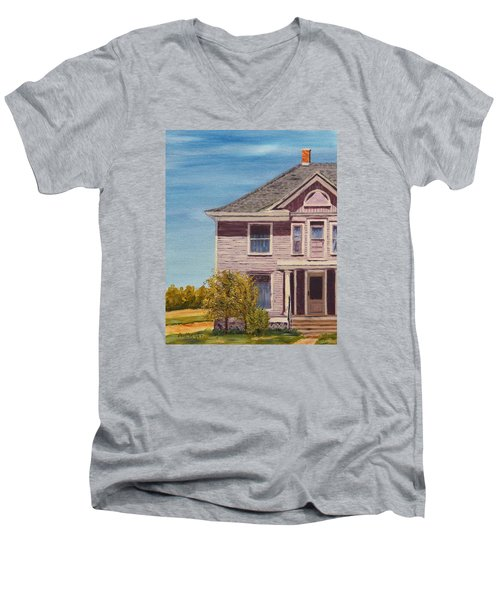 Purple House On The Prairie Men's V-Neck T-Shirt by Alan Mager