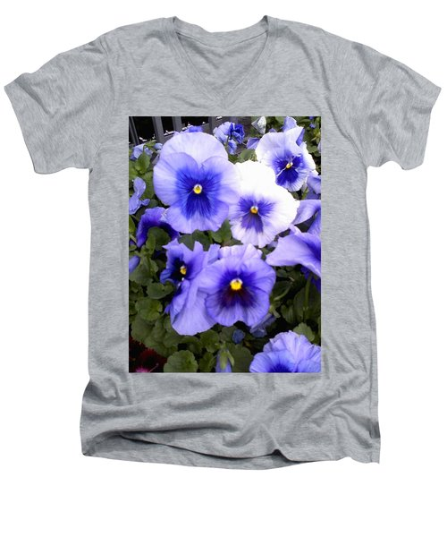 Men's V-Neck T-Shirt featuring the photograph Purple Morning Glory by Fortunate Findings Shirley Dickerson