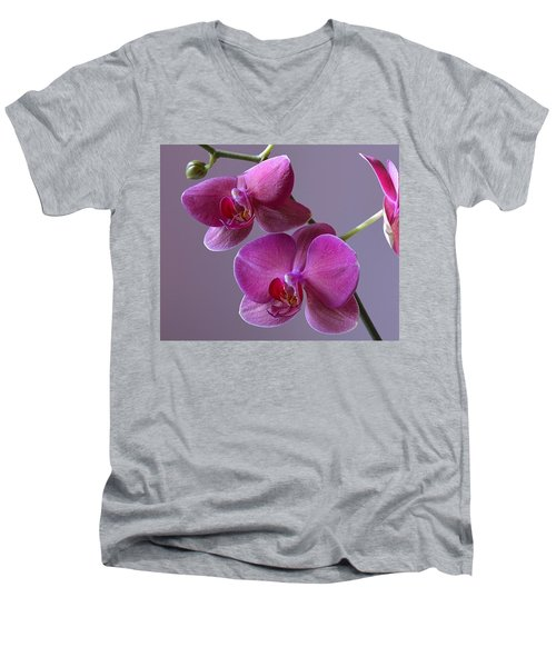 Purple Orchid Men's V-Neck T-Shirt by Kathy Eickenberg