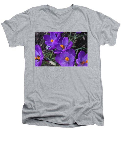 Men's V-Neck T-Shirt featuring the photograph Purple Passion by Judy Palkimas