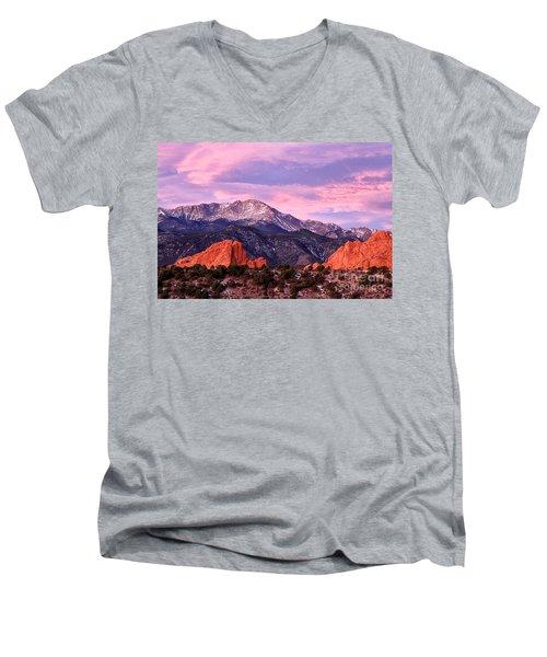 Purple Skies Over Pikes Peak Men's V-Neck T-Shirt by Ronda Kimbrow