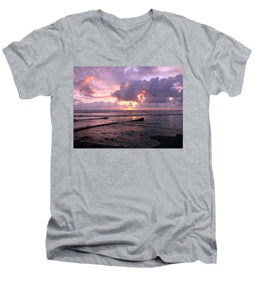 Men's V-Neck T-Shirt featuring the photograph Purple Pink Sunset by Athena Mckinzie