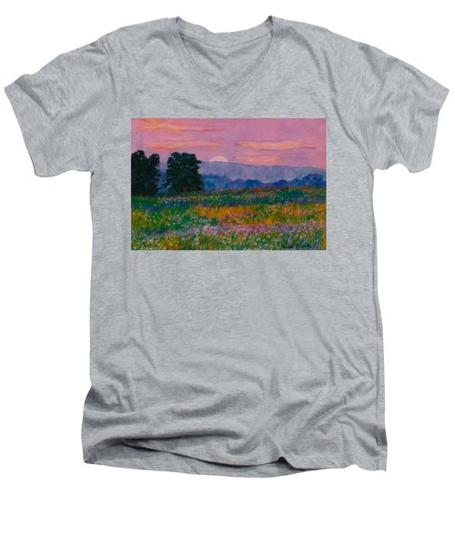 Purple Sunset On The Blue Ridge Men's V-Neck T-Shirt
