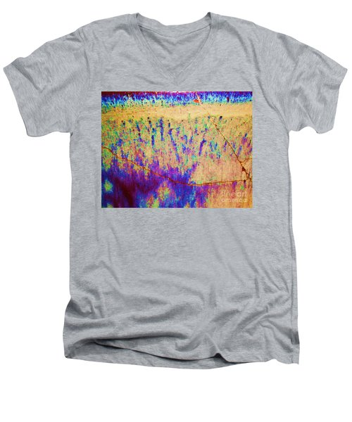 Purple Tan Stone Abstract Men's V-Neck T-Shirt by Eric  Schiabor