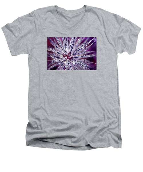 Men's V-Neck T-Shirt featuring the photograph Purple Tentacles In Abstract Flower Shot by Dreamland Media