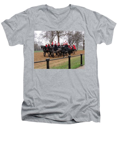 Men's V-Neck T-Shirt featuring the photograph Queen's Guard by Tiffany Erdman