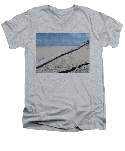 Men's V-Neck T-Shirt featuring the photograph Quiet Beach by Photographic Arts And Design Studio