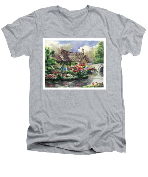 Quiet House Along The River Men's V-Neck T-Shirt