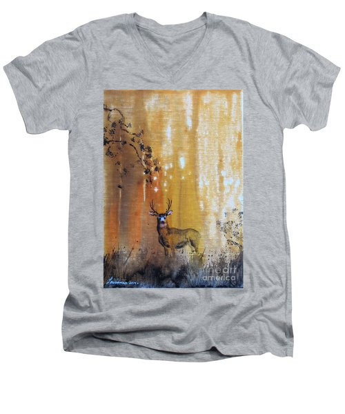 Quiet Time Men's V-Neck T-Shirt by Laurianna Taylor