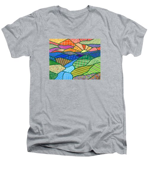 Quilted Appalachian Sunset Men's V-Neck T-Shirt by Jim Harris