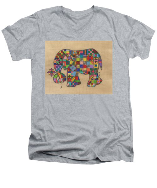 Quilted Elephant Men's V-Neck T-Shirt