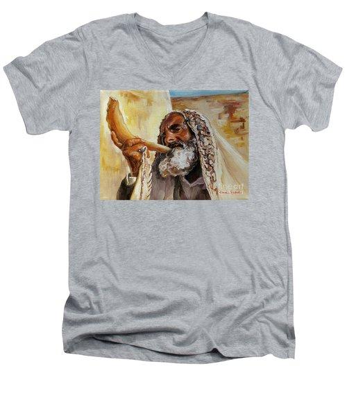 Rabbi Blowing Shofar Men's V-Neck T-Shirt