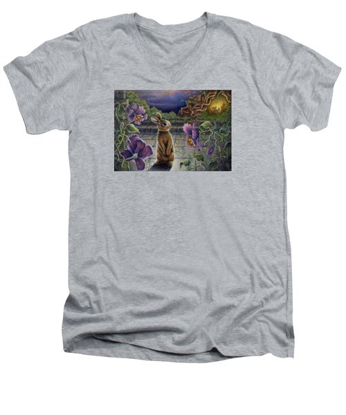 Rabbit Dreams Men's V-Neck T-Shirt by Retta Stephenson