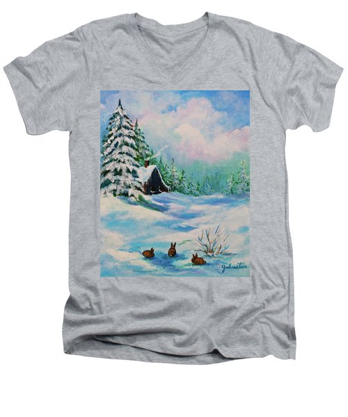 Men's V-Neck T-Shirt featuring the painting Rabbits Waiting For Spring by Bob and Nadine Johnston