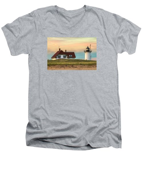 Race Point Light At Sunset Men's V-Neck T-Shirt