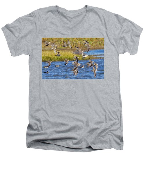 Men's V-Neck T-Shirt featuring the photograph Racing Stripes by Gary Holmes