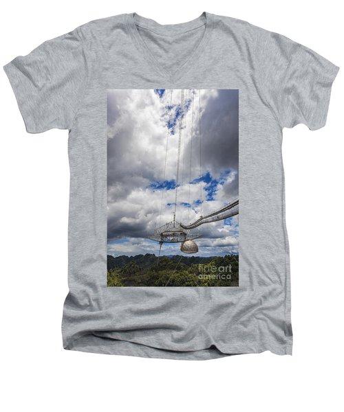 Radio Telescope At Arecibo Observatory In Puerto Rico Men's V-Neck T-Shirt