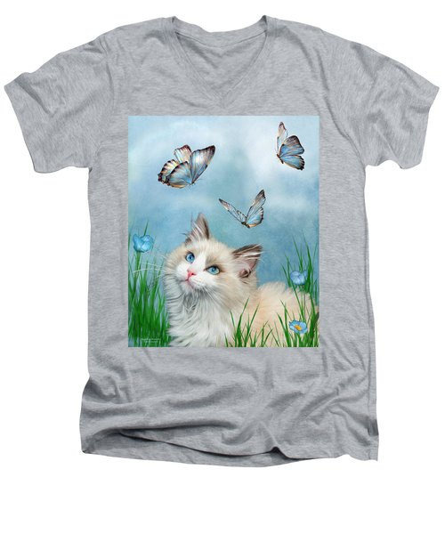Men's V-Neck T-Shirt featuring the mixed media Ragdoll Kitty And Butterflies by Carol Cavalaris