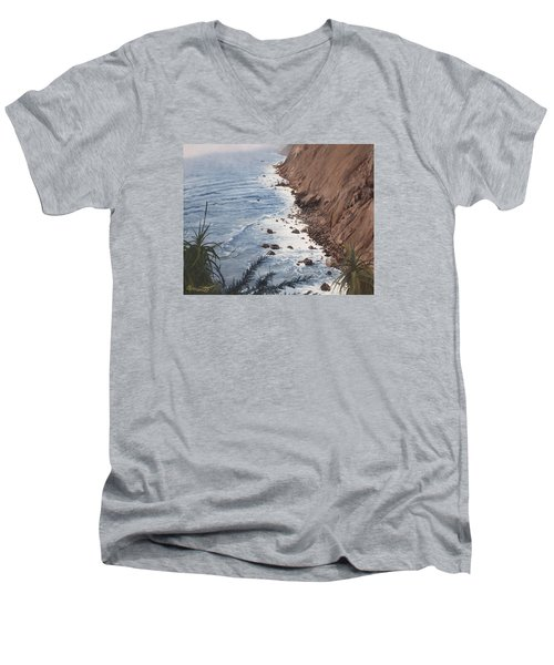 Ragged Point California Men's V-Neck T-Shirt by Barbara Barber