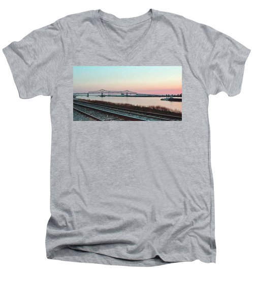Men's V-Neck T-Shirt featuring the photograph Rail Along Mississippi River by Charlotte Schafer
