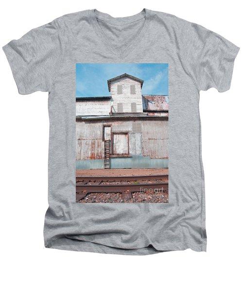 Railroad To The Past Men's V-Neck T-Shirt by Minnie Lippiatt