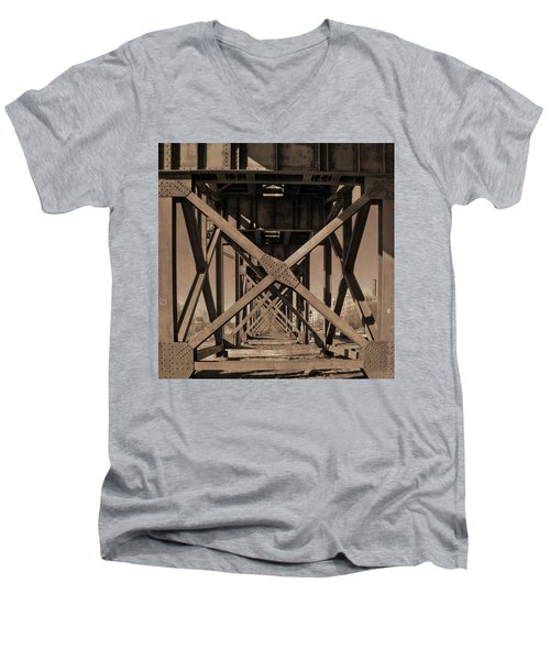 Railroad Trestle Sepia Men's V-Neck T-Shirt