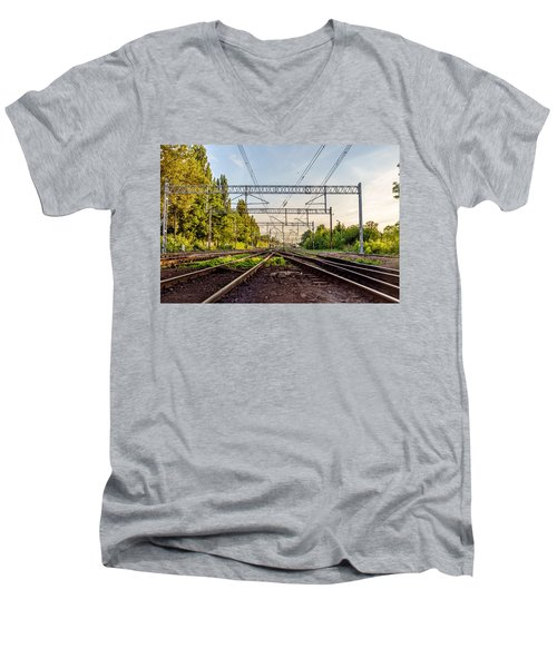 Railway To Nowhere Men's V-Neck T-Shirt by Tgchan