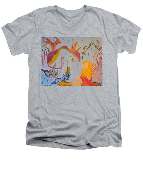 Men's V-Neck T-Shirt featuring the painting Rain Dragon by Meryl Goudey