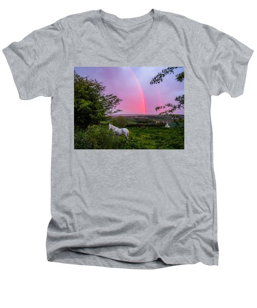 Rainbow At Sunset In County Clare Men's V-Neck T-Shirt
