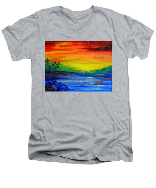 Rainbow Back Waters Men's V-Neck T-Shirt