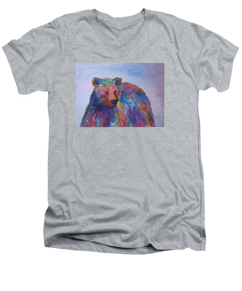 Rainbow Bear Men's V-Neck T-Shirt by Ellen Levinson