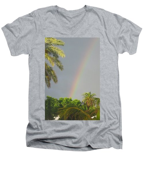 Men's V-Neck T-Shirt featuring the photograph Rainbow Bermuda by Photographic Arts And Design Studio