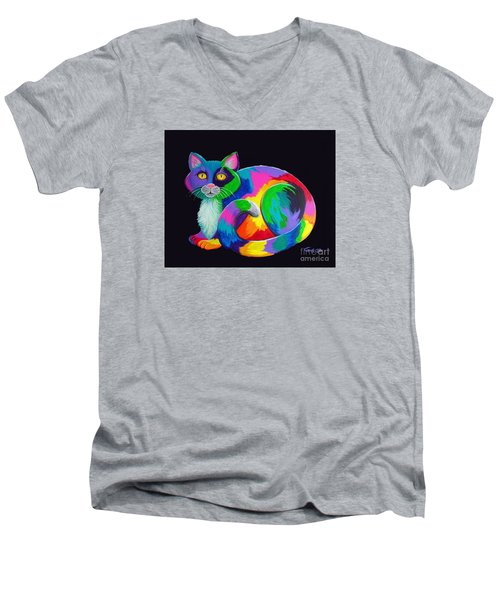 Rainbow Calico Men's V-Neck T-Shirt