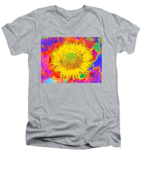 Men's V-Neck T-Shirt featuring the painting Rainbow Colored Sunshine Flower- Because I'm Happy by David Mckinney