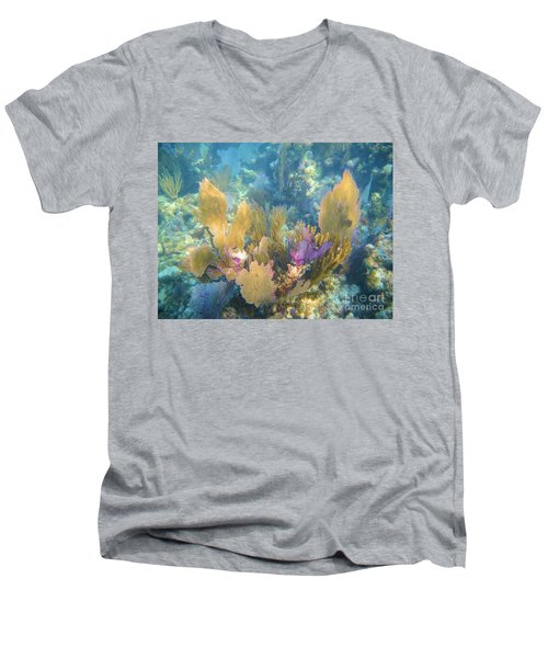 Rainbow Forest Men's V-Neck T-Shirt by Adam Jewell