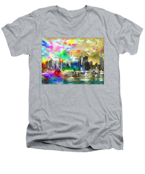 Rainbow Nyc Skyline Men's V-Neck T-Shirt