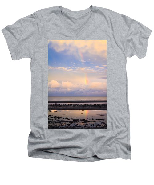 Men's V-Neck T-Shirt featuring the photograph Rainbow Over Bramble Bay by Peta Thames