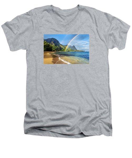 Rainbow Over Haena Beach Men's V-Neck T-Shirt by M Swiet Productions