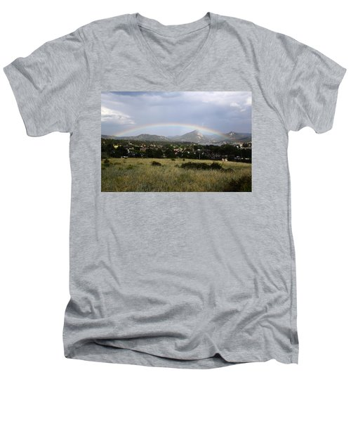 Men's V-Neck T-Shirt featuring the photograph Rainbow Over Lake Estes by Shane Bechler