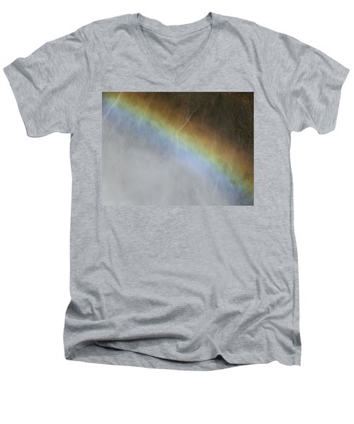 Men's V-Neck T-Shirt featuring the photograph Rainbow Over The Falls by Laurel Powell