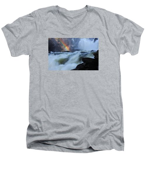 Men's V-Neck T-Shirt featuring the photograph Rainbow River by Dreamland Media