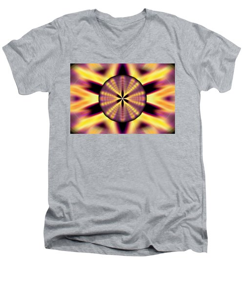 Men's V-Neck T-Shirt featuring the drawing Rainbow Seed Of Life by Derek Gedney