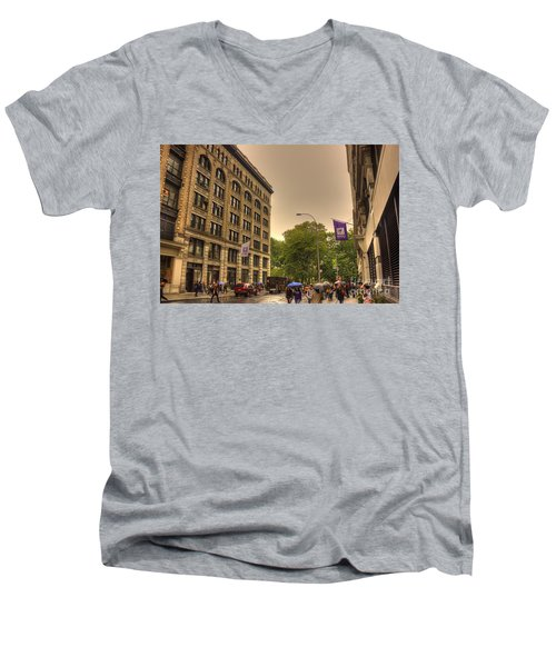 Raining At Nyu Men's V-Neck T-Shirt by David Bearden