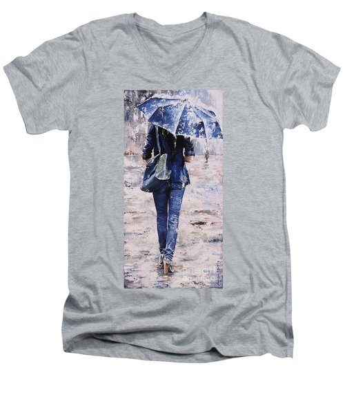 Rainy Day #22 Men's V-Neck T-Shirt by Emerico Imre Toth